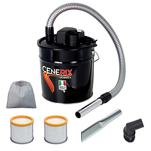 ASPIRACENERE ELETTRICO CENERIX 1200 W - 18 L con doppio filtro, lancia piatta e spazzola con setole