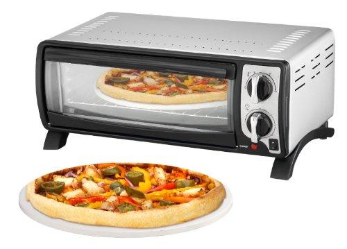 Efbe-Schott Gourmet- und Pizza-Ofen mit Backblech, Grillrost und Pizzastein (100-250°C), 13 l Innenraumvolumen, 1400 W, Metall/Glas, Silber, SC MBO 1000 SI