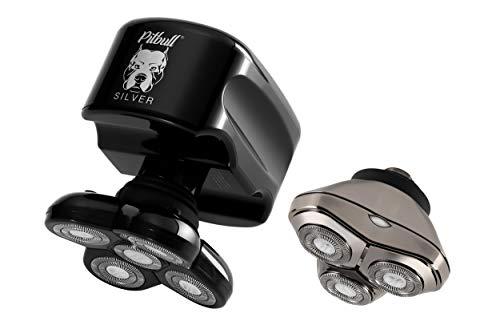 Skull Shaver Pitbull Silver Plus Rasoio Elettrico Capelli Uomo per Viso e Testa (Cavo di Ricarica USB)