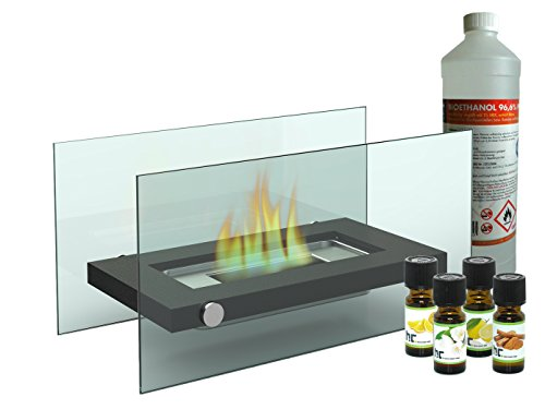 Decorative tabletop fireplace, includes 1 litre of bioethanol and 4 bottles of scented oil, for a cosy atmosphere
