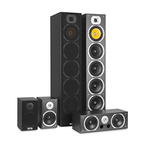 Auna V9B Surround Altoparlante • Set diffusori • Sistema Audio Surround • Sistema Home Theatre • Chassis Reflex granuloso • RMS da 400 Watt • frequenza: da 20 Hz a 20 kHz • Montaggio a Parete • Nero