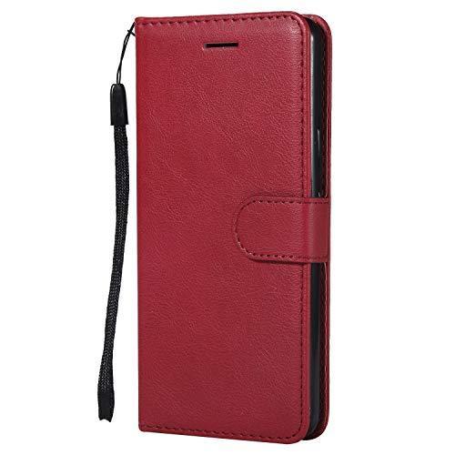 Lomogo Google Pixel 2 Case Leather Wallet Case with Kickstand Card Holder Shockproof Flip Case Cover for Google Pixel2 - LOKTU23483 Red
