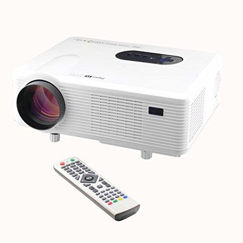 Excelvan CL720D - LED Proyector Cine en Casa Home Cinema (1280x800 hasta 1080P, DVB-T HD, Videoproyector con Interfaz de Entrada HDMI VGA USB, 3000 Lúmenes, Multi-idiomas), Blanco