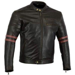 "Bikers Gear, Motorrad-Lederjacke ""The Rocker"", Schwarz, Café-Racer-Jacke, CE-Vestärkung, PU-verstärkt, Größe: XXL, CE1621–1 12"
