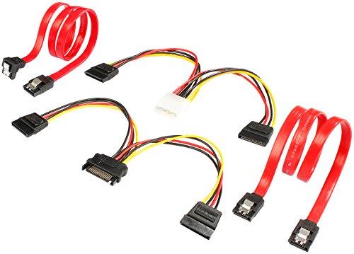 Poppstar 2x Sata 3 Datenkabel (rot, 50cm, Stecker 1x gerade, 1x auf gewinkelt), 1x 16cm Y Stromkabel Sata, 1x 16cm Y Strom Kabel (Molex Buchse auf 2x Sata Stecker)