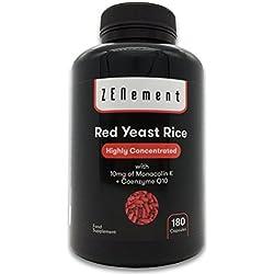 Levadura Roja de Arroz concentrada con 10 mg de Monacolina K y Coenzima Q10, 180 Cápsulas | Controla los niveles de colesterol sanguíneo | 100% Vegano, libre de citritina y aditivos, sin gluten