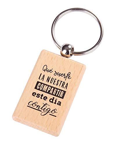 Lote de 20 Llaveros de Madera con Frases'SUERTE LA NUESTRA' - Llaveros con Frases Originales Bodas, Bautizos, Comuniones y Cumpleaños