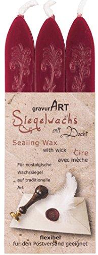 gravurART - flexibles Siegelwachs mit Docht in Bordeaux-Rot, 3 Stangen Farbauswahl