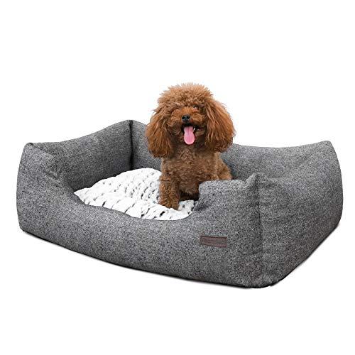 FEANDREA Kleines Hundebett mit Wendekissen und Anti-Rutschboden, Außenmaße: 60 x 50 cm, PGW22G