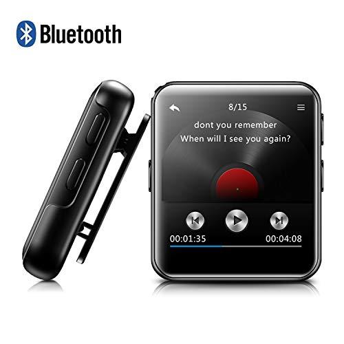 MP3 BENJIE 8GB MP3 Bluetooth 1.5' Reproductor de MP3 Pantalla Táctil Completa HiFi Sin Pérdida de Sonido MP3 Running, FM Radio, Grabadora de Voz con Auriculares para Amantes del Deporte y la Música