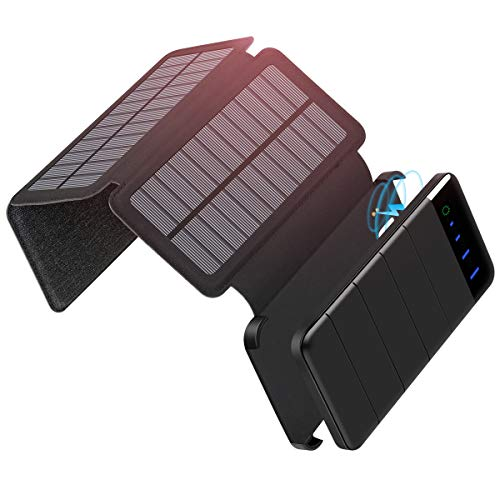 ADDTOP Caricabatterie Solare 10000mAh Portatile Power Bank con 2 Porte USB Batteria Esterna con 3...