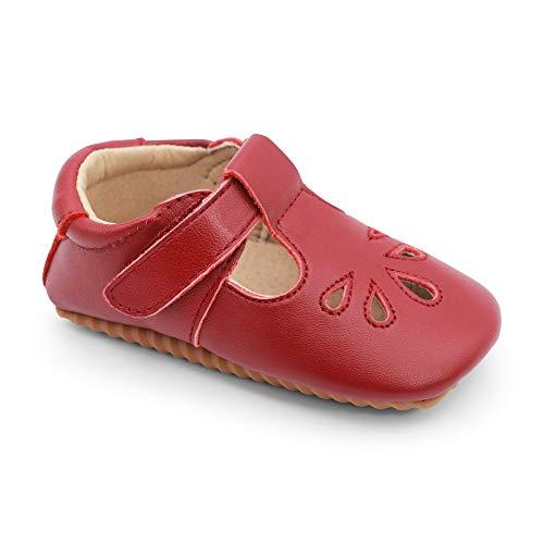 Scarpe Primi Passi in Pelle Alta qualità per Bambini. Scarpine T-Bar Ragazze. Antiscivolo. Rosso. (EU 18.5)
