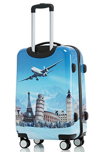 Polycarbonat Hartschale Koffer 2060 Trolley Reisekoffer Reisekofferset Beutycase 3er oder 4er Set in 7 Motiven (Flug(3er Set)) - 3