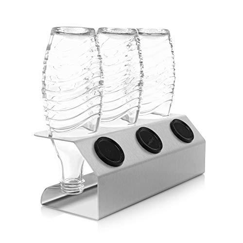 ktDesign 3er Premium Abtropfhalter aus Edelstahl für z.B. Sodastream Crystal inkl. Deckelhalterung - geschliffener Edelstahl 4301 - Made IN Germany - rostfrei -