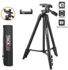 Trípode de Cámara, TACKLIFE-MLT01-Trípode Ligero (136cm) de herramientas, Hecho de aluminio, Plegable, con Bolsa, Compacto para Canon Nikon Sony