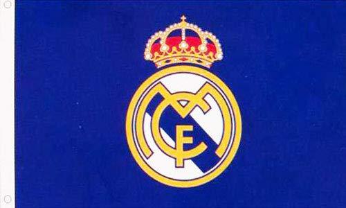 AES Real Madrid Bandera Escudo Azul 3'x5' Merchandising Autentico Primera Liga (150 x 90 cm)