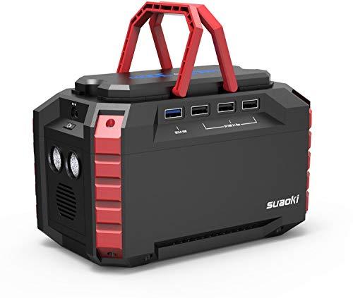 SUAOKI Generador Solar Portátil 150Wh(3.7V 40500mAh), Generador de camping, fuente de alimentación de Litio (Carga QC3.0, 220V Salida AC, 4*USB, linternas LED para Camping, Senderismo)
