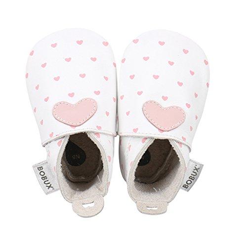Bobux Pantofola Elastico Cuore Soft Sole Femmina Bianco