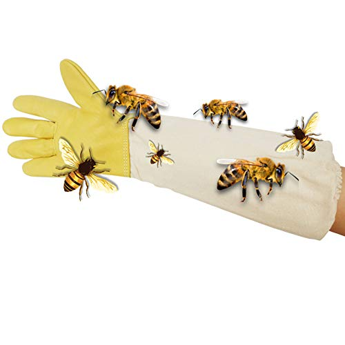 BR TOOL - Guanti protettivi per apicoltori in Pelle di Capra, con Maniche Spesse in Cotone...