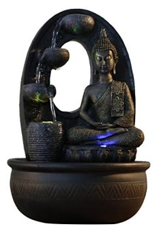 Zen'Light – Harmonie Fuente de poliresina, 26x 16x 40cm, Color Negro