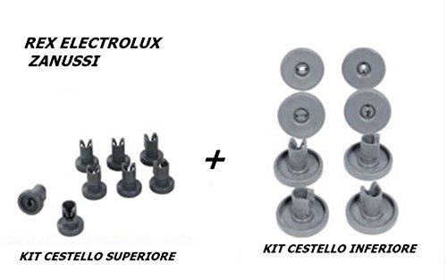 REX ELECTROLUX ZANUSSI KIT 16 RUOTE LAVASTOVIGLIE CESTELLO SUPERIORE + INFERIORE 8 + 8