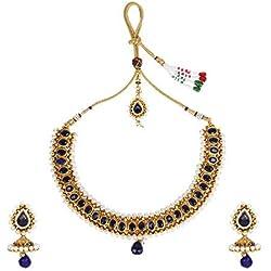 Dancing Girl 1 Gram Gold Blue Metal Alloy Necklace Earrings Maang Tika Jewellery Sets for Women