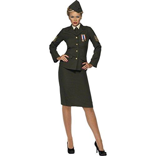 Smiffy'S 35335L Disfraz De Oficial De Guerra Con Falda Chaqueta Con Medalla, Verde, L - Eu Tamaño 44-46