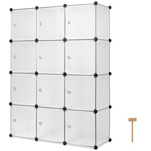 Homfa Armadio Modularecon 12 Cubi, Scaffale Componibile con Ante, Guardaroba Organizzatore...