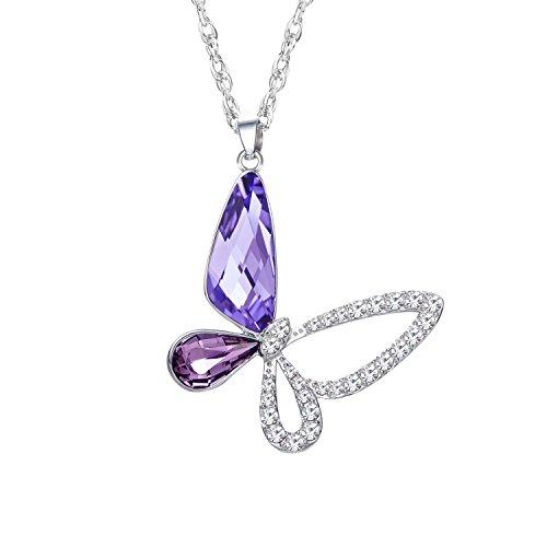 STAR SANDS - Mariposa - Colgante Collar Para Mujer y Niña Con auténticos cristales de Austria - Cadena de Acero Titanio de 45cm - Los Mejores Regalos Para Esposa Novia Mama Hija