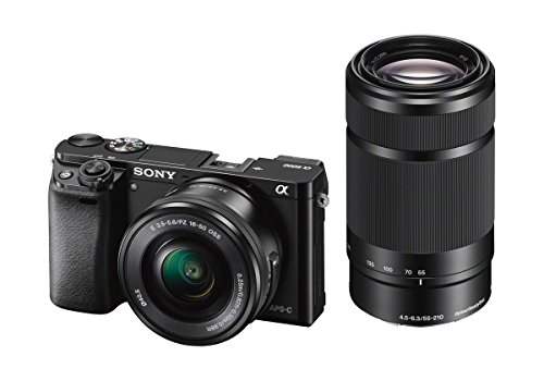 Sony Alpha a6000 Mirrorless Digital Camera 24.3MP with 55-210mm and 16-50mm Power Zoom Lenses - Black
