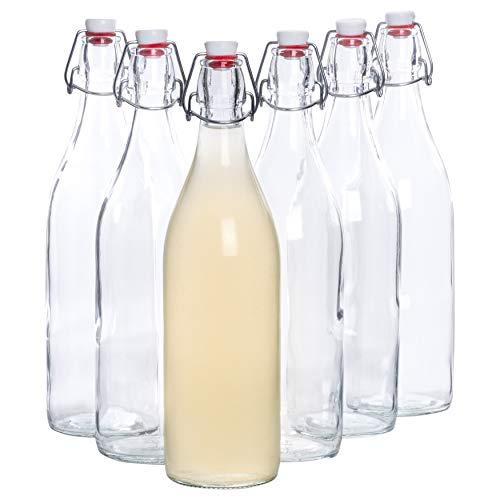 Bormioli Glasflaschen mit Bügelverschluss \'Giara\' 6 teilig | Füllmenge 1000 ml | Gesamthöhe xx | Perfekt um Öle anzusetzten, Schnäppse zu veredeln oder zum servieren von Wasser, Säften und Weinen