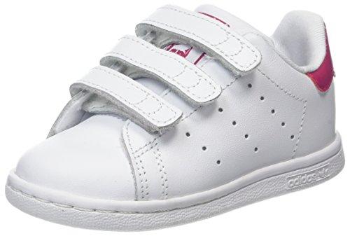 adidas Stan Smith CF I I, Scarpe da Ginnastica Basse Unisex-Bimbi, Bianco Footwear White/Bold Pink 0, 23 EU