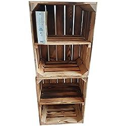 Massive NEUE geflammte Kiste als Schuh- und Bücherregal +++ Obstkiste mit Zwischenbrett +++ Einzeln / 2er SET von BLUMENKÜBELXXL© (Geflammt Quer 2er SET)