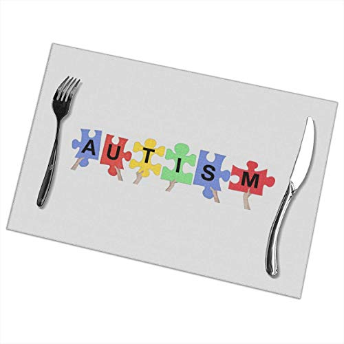 Autism Puzzle Print PVC Placemat Heat-Resistant Anti-Skid Waterproof Mats for Kitchen Dining Table...
