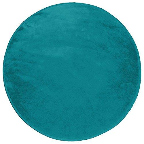 Douceur d'Intérieur Louna, tappeto rotondo in poliestere blu acqua marina, diametro 90 cm