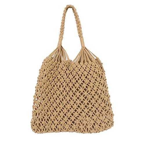 LIOOBO Bolso de Mano de Punto de Crochet Bolso de Hombro Bolsa de Playa de Verano clásico Vintage Bolsa de Hombro de Viaje para Mujeres y niñas (marrón)