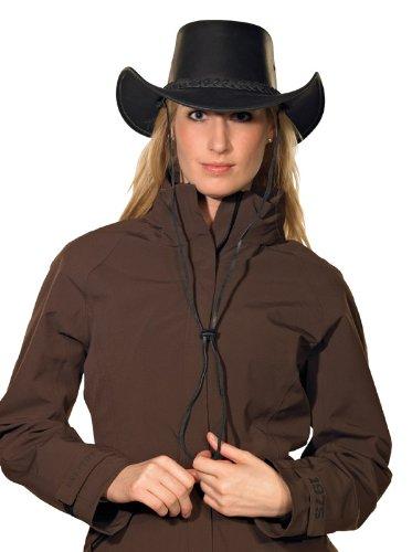 Pfiff 101004 Westernhut Utah, Rindleder, Cowboyhut, Hut Western Cowboy, Schwarz, S (56cm)