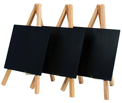 Securit - Mini lavagna da tavolo con cavalletto, smaltata, confezione da 3 pezzi, 15 x 13 cm...