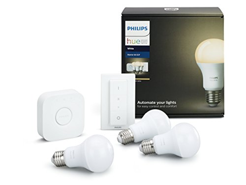 Philips Hue White Starter Kit con 3 Lampadine LED E27, 1 Bridge e 1 Telecomando Dimmer Switch, luce...