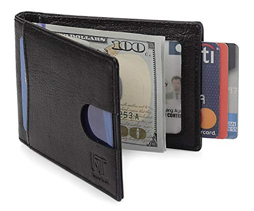 MIN-TAN Front Pocket RFID Slim Bifold Geunine Leather with Money Clip Black Nappa Mens Wallet