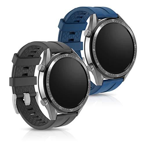 kwmobile Huawei Watch GT (46mm) Cinturino in Silicone - 2X Fascetta con Fibbia ca. 16-24 cm per Huawei Watch GT (46mm)