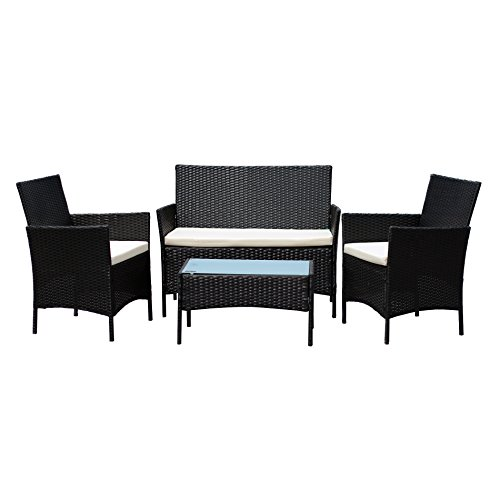 EBS® Polyrattan Gartenmöbel set Gartengarnitur Sitzgruppe Lounge Garnitur 1 Tisch 3 Stühle Weiß Sitzkissen
