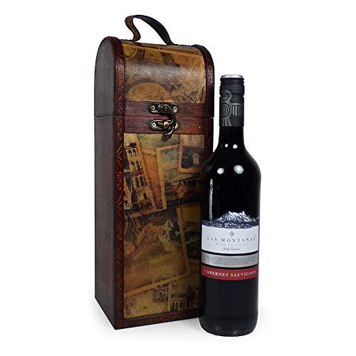 750 ml di vino rosso Las Montanas in uno scrigno in legno stile Tipple vintage - Idee regalo per mamma, festa della mamma, regali di Natale, compleanno, anniversario