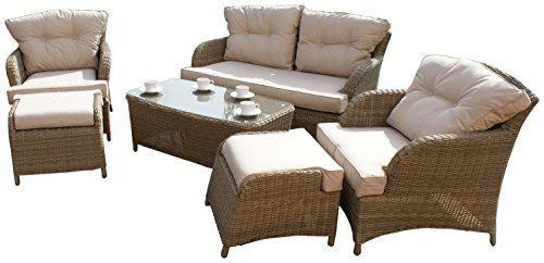Labirinto Rattan win-202094 Winchester Cambridge Divano Set Include in Un Arrotondato Weave - Natural Toned