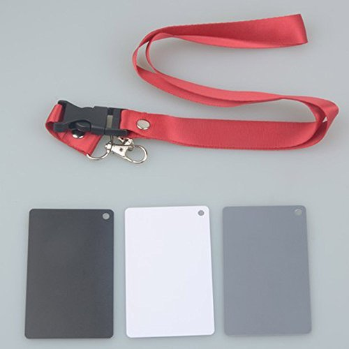 Andoer 3 in 1 Pocket-Size Digital White Black Grey Balance Cards 18% Gray Card with Neck Strap for Digital Photography