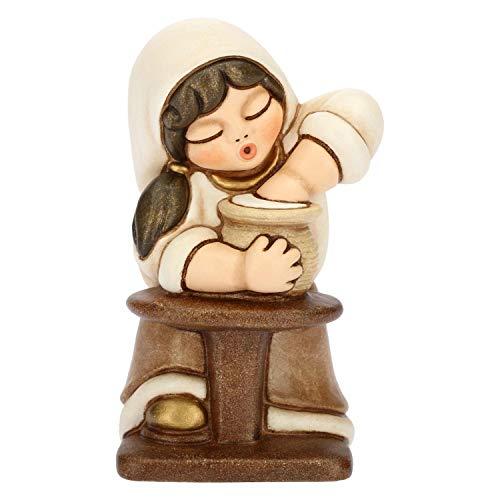 THUN - Donna Vasaia con Tornio - Versione Bianca - Statuine Presepe Classico - Ceramica - I Classici