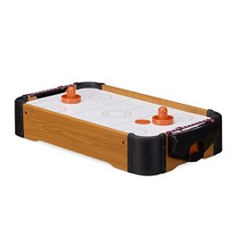 Relaxdays Air Hockey da Tavolo Gioco Hockey ad Aria con Ventilatore Portatile Accessori Inclusi HxLx
