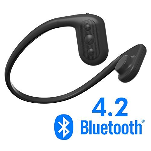 Tayogo IPX8 MP3 conducción ósea Auriculares Impermeable FM Radio 8 GB Bluetooth 4.2 Podómetro App, Submarina 5m, para Natación Correr Caminar SPA (Nergo)