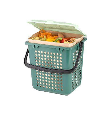 BIOMAT® Starterpaket, Set aus kompostierbaren Papiertüten (80 Stk.) inkl. Sammelbehälter (grün)