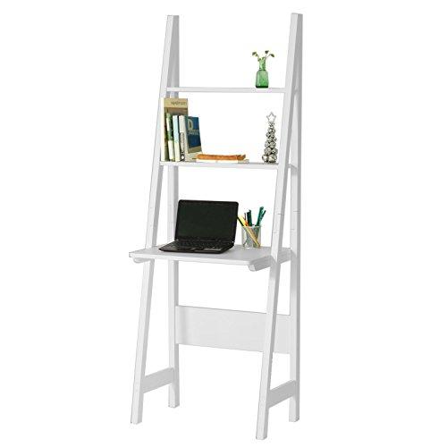 SoBuy® Mesa de ordenador con estante integrado, Estanterias librerias,Estanterias de diseño,blanco,FRG60-W,ES